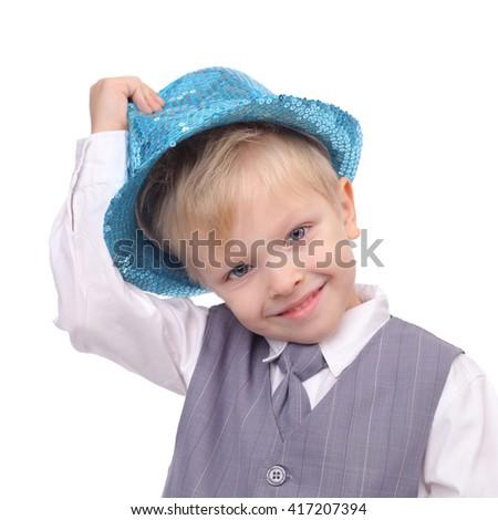 cute smiling little boy closeup - stock photo