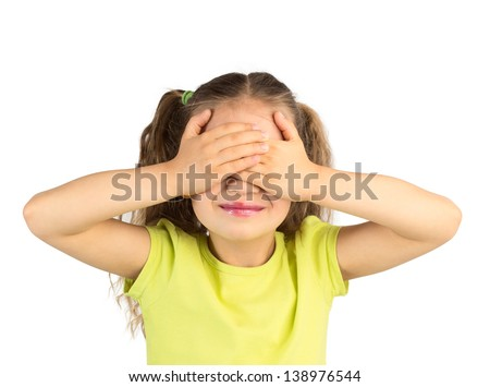 Cute Smiling Little Girl Covering Her Eyes with Her Hands, Isolated - stock photo
