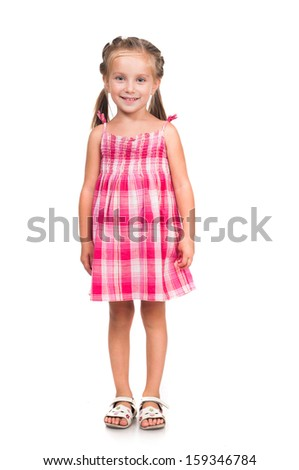 cute smiling little girl isolated on white background - stock photo