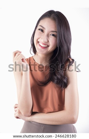 Cute smiling mixed asian / young woman. Isolated on white background. - stock photo