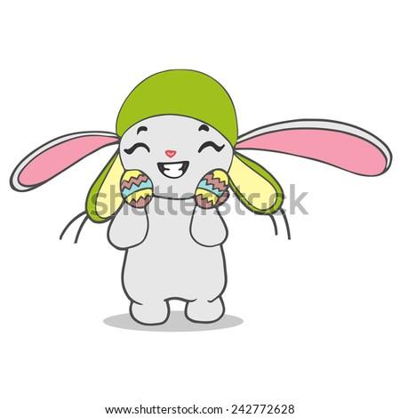 cute smiling rabbit,  illustration on white background - stock photo