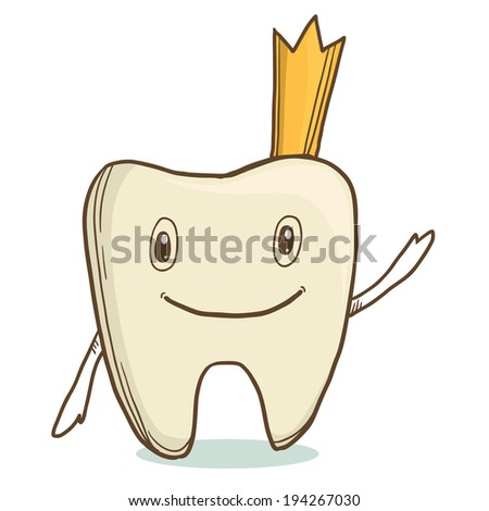 Cute smiling tooth with crown on white background. First baby tooth - stock photo