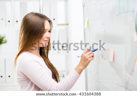 Cute smiling woman drawing business charts on office whiteboard with stickers