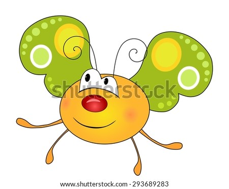 Cute smiling yellow butterfly character isolated on white background