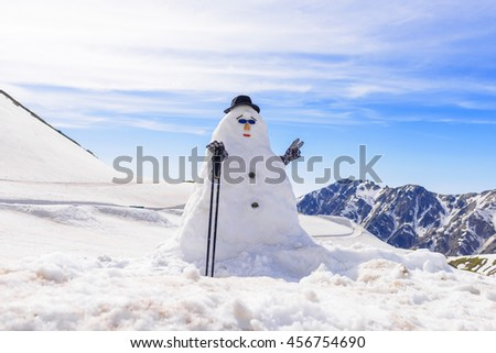 Cute snowman at Murodo in Tateyama, Toyama, Japan. Murodo is the highest point along the Tateyama Kurobe Alpine Route.