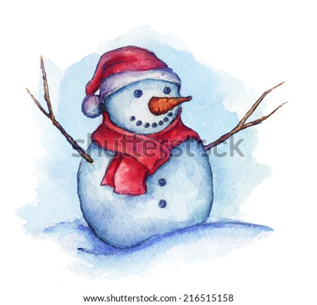 Cute snowman in a red hat and scarf - stock photo