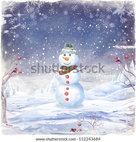 Cute snowman in christmas snowy nature. - stock photo