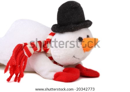 Cute snowman isolated on white background