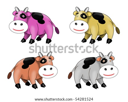 Cute Spotted Cow Vector Illustration in many different color