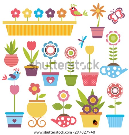 Cute spring colorful flowers in pots. Raster version - stock photo