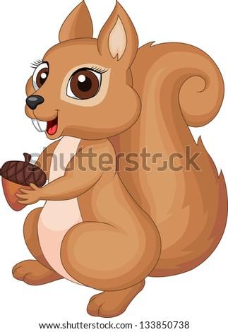 Cute squirrel cartoon holding nut - stock photo
