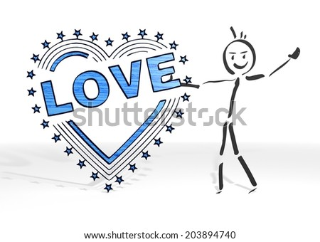 cute stick man presents a heart with stars symbol white background - stock photo