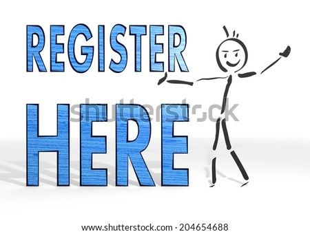cute stick man presents a register white background - stock photo