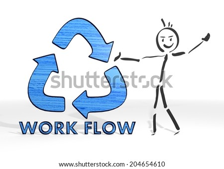 cute stick man presents a workflow sign white background - stock photo