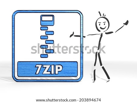 cute stick man presents a 7zip file sign white background - stock photo