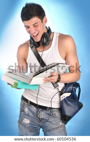 cute student and books - stock photo