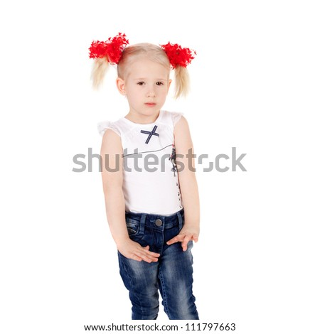 cute sweet little girl in jeans