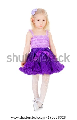 cute sweet little girl in the festive dress