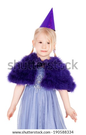 cute sweet little girl in the festive dress and birthday cap