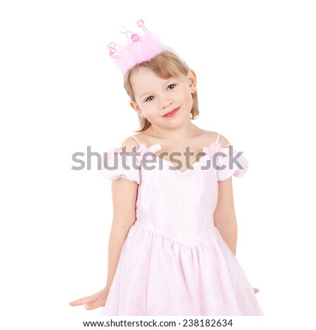 cute sweet smiling little child dressed as a princess - stock photo
