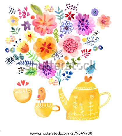 Cute tea time card watercolor - stock photo