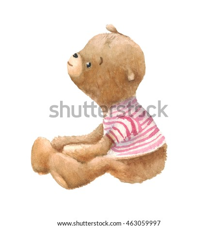 Cute Teddy Bear character, sitting on the floor, watercolor painting. Clipping path included, fast isolation.