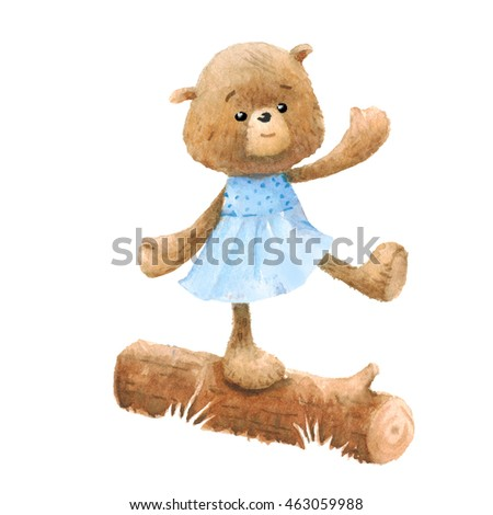 Cute Teddy Bear character, watercolor painting. Clipping path included, fast isolation.
