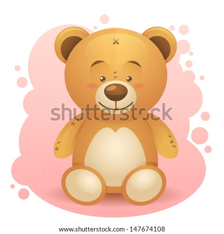 Cute teddy bear children toy realistic drawing isolated - stock photo