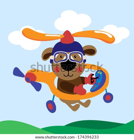 Cute teddy bear flying with helicopter