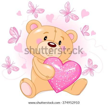 Cute Teddy Bear holds pink love heart - stock photo