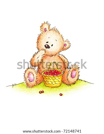 Cute teddy bear sitting on a green lawn with a basket full of red berries - stock photo