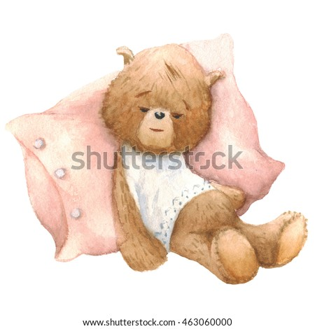 Cute Teddy Bear sleeping with pillow, watercolor painting. Clipping path included, fast isolation.