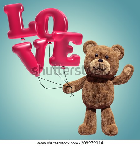 cute teddy bear toy, 3d cartoon character holding air balloons, love message - stock photo