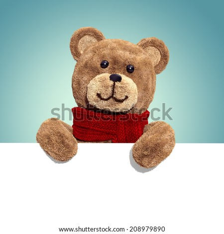 cute teddy bear toy, 3d cartoon character holding white card - stock photo