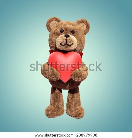 cute teddy bear toy holding heart, 3d cartoon character - stock photo