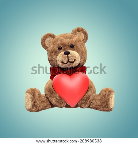 cute teddy bear toy sitting, holding heart, 3d cartoon character - stock photo