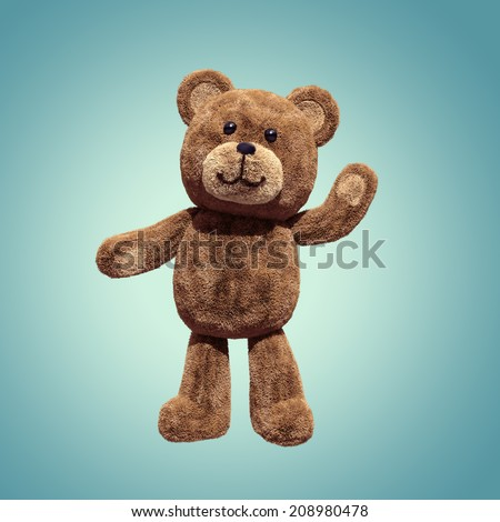 cute teddy bear toy standing, 3d cartoon character - stock photo