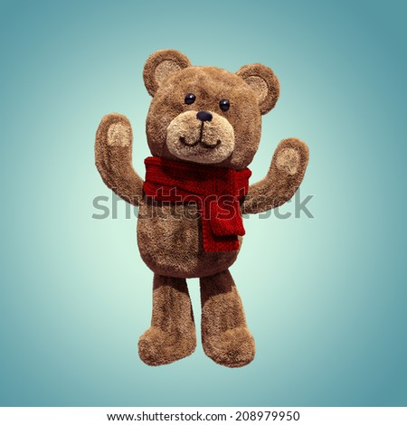 cute teddy bear toy standing, hands up, 3d cartoon character - stock photo