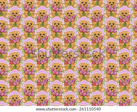 cute teddy bear with an armload of tulips pattern - stock photo
