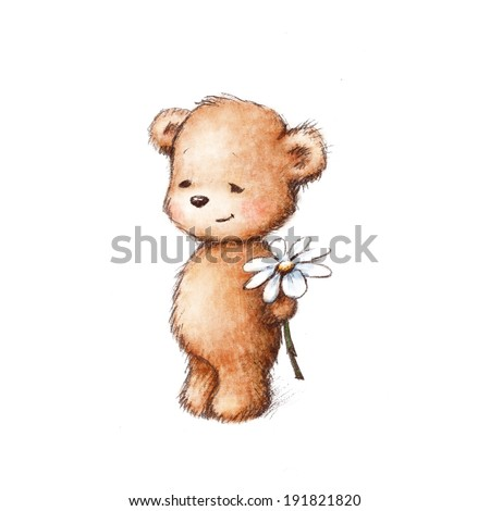 Cute teddy bear with daisy on white background - stock photo