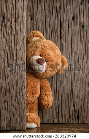 Cute teddy bear with old wood background - stock photo