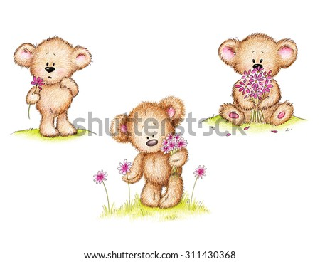 Cute teddy bear with pink flowers on green lawn - stock photo