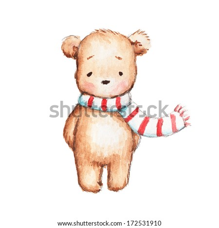 Cute Teddy Bear with Red and White Scarf - stock photo