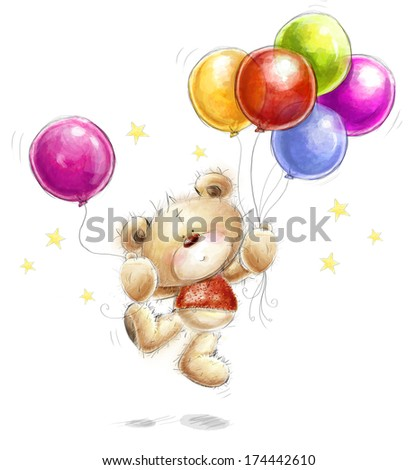 Cute Teddy bear with the colorful balloons and stars. Background with bear and balloons. Hand drawn teddy bear isolated on white background.Birthday greeting card. Party invitation. Party balloons. - stock photo