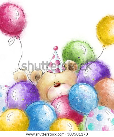 Cute Teddy bear with the colorful balloons.Background with bear and balloons.Birthday greeting card. Party invitation. Party balloons. - stock photo