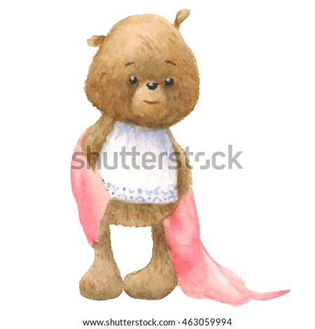 Cute Teddy Bear with towel, bath time, watercolor painting. Clipping path included, fast isolation.