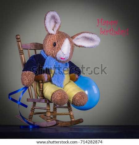 Cute Teddy Bunny Sit On The Chair And Ready For Birthday Celebration,