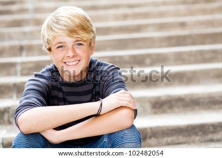 cute teen boy closeup portrait - stock photo