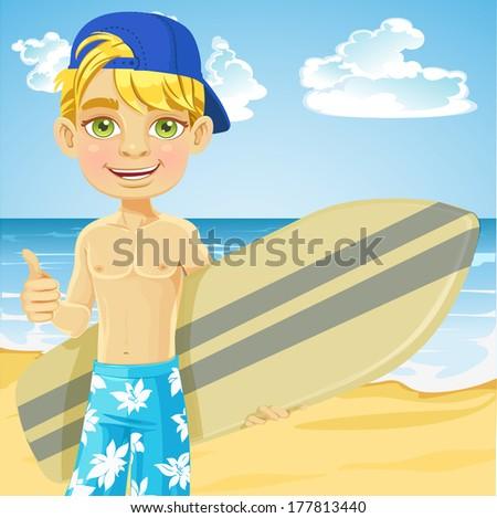 Cute teen boy with a surfboard on a sunny beach - stock photo
