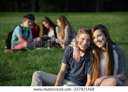 Cute teen couple sitting outdoors near group - stock photo